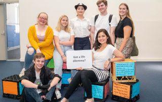 The cast of Sydney Catholic Schools' production of 'Revolution Society'.