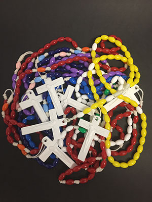 Rosary beads made by All Hallows Catholic Primary School Five Dock staff