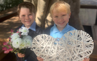 Pictured are St Margaret Mary's Catholic Primary School Randwick North kindergarteners Oliver Kiely and Leo Morley