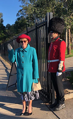 John the Baptist Catholic Primary School Bonnyrigg Heights assistant principal Anne Blake Assistant as the Queen with principal Tony Lo Cascio as the Queen's Guard