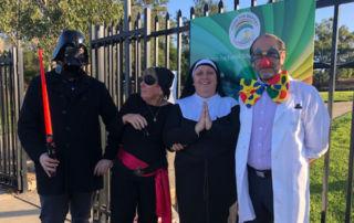 John the Baptist Catholic Primary School Bonnyrigg Heights teachers greet students at the school gate