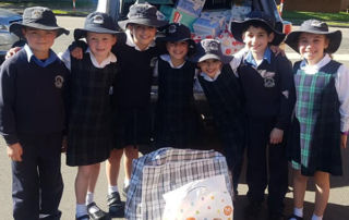 St Michael's Catholic Primary School Meadowbank students with items donated for families in Lebanon