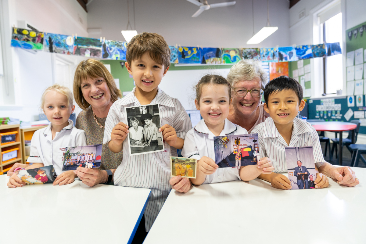 From left, St James students Macy, Alexander and Ellianna with teachers Clare Ivens and Helen Thurgate.
