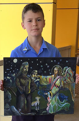 St Michael's Catholic Primary School Meadowbank student Alfio Cavaleri with his 2020 Christmas Story Art Exhibition and Competition entry