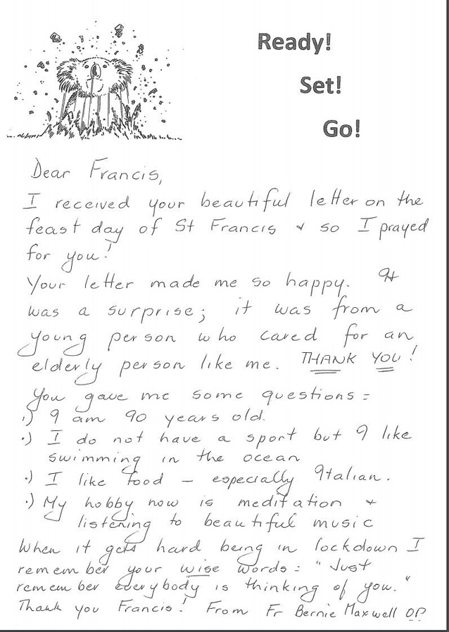 Letter from Father Bernie to St Charles Ryde student Francis