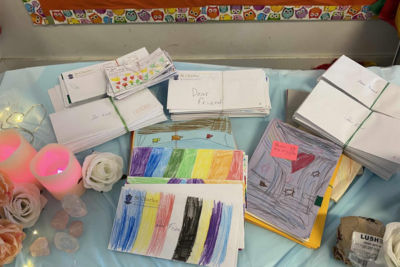 Letters prepared for residents at calvary retirement village from St Charles Ryde students