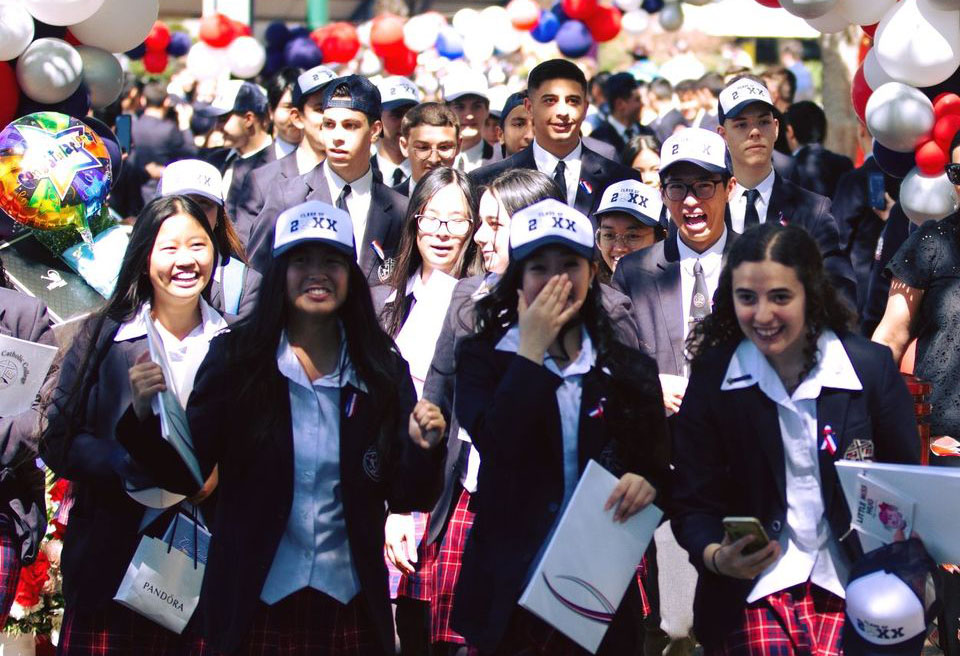 Freeman Catholic College Bonnyrigg Heights students celebrate the end of Year 12