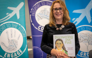 Author-illustrator Liz Bowring with new history picture book Discovering Our Past