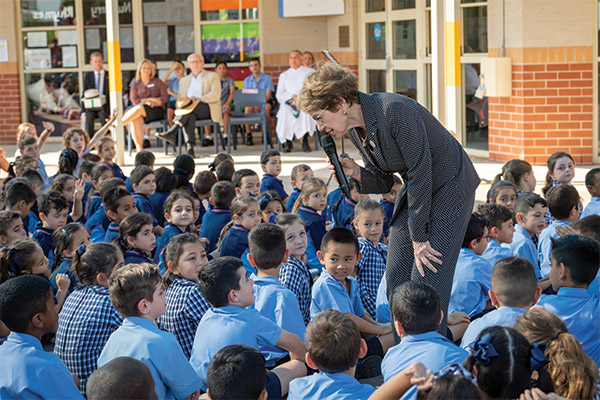 Governor of NSW Margaret Beazley talking with Holy Spirit Carnes Hill students