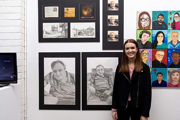 St Patrick's Sutherland alumna Charlotte Litchfield with her Clancy Prize artwork