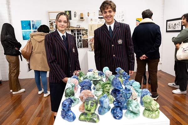 Laura Da Luz and Liam Ilkovski from Marist Penshurst with their Clancy Prize artwork