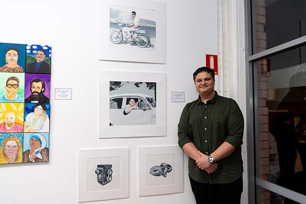 St Patrick's Sutherland alumnus Yianna Karantonis with his Clancy Prize artwork