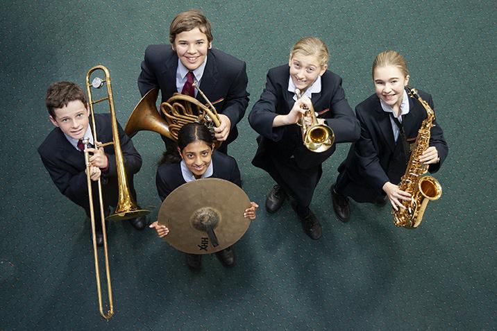 A Marist Catholic College student music ensemble from Marist Catholic College North Shore gets ready to perform at Sydney Catholic School's first eisteddfod.