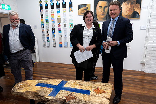 Charlotte McCaughan is pictured with Sydney Catholic Schools' Executive Director, Tony Farley