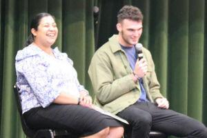 Aidan Dunne with Sydney Catholic Schools' education officer Cheryl Fernandez