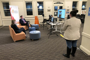 Sydney Catholic Schools' Chief of Staff, Dr Jacqueline Frost, and Executive Director, Tony Farley, interact with parents during a Facebook Live Q&A