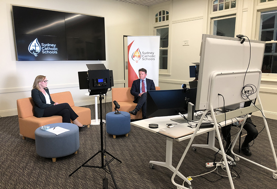 Sydney Catholic Schools' Chief of Staff, Dr Jacqueline Frost, and Executive Director, Tony Farley, interacting with parents during a Facebook Live COVID-19 Q&A