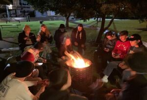 De La Salle Catholic College Cronulla students taking part in the FamilyWinterSleepout@Home at school