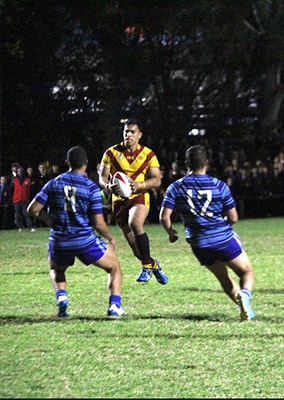 Jaxson Rahme playing rugby league for Holy Cross College Ryde