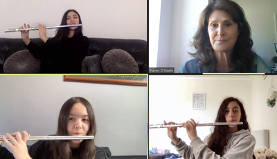 Holy Spirit College Lakemba students take part in a zoom Amadeus music lesson