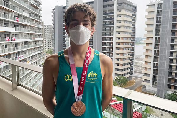 Alex Tuckfield with his bronze Medal