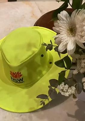 Joe Di Marti's hat with flowers