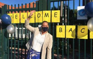 Nicole Jones, McAuley Catholic primary school principal welcoming students back to school.