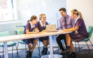 St Clare's College Waverley students learning collaboratively