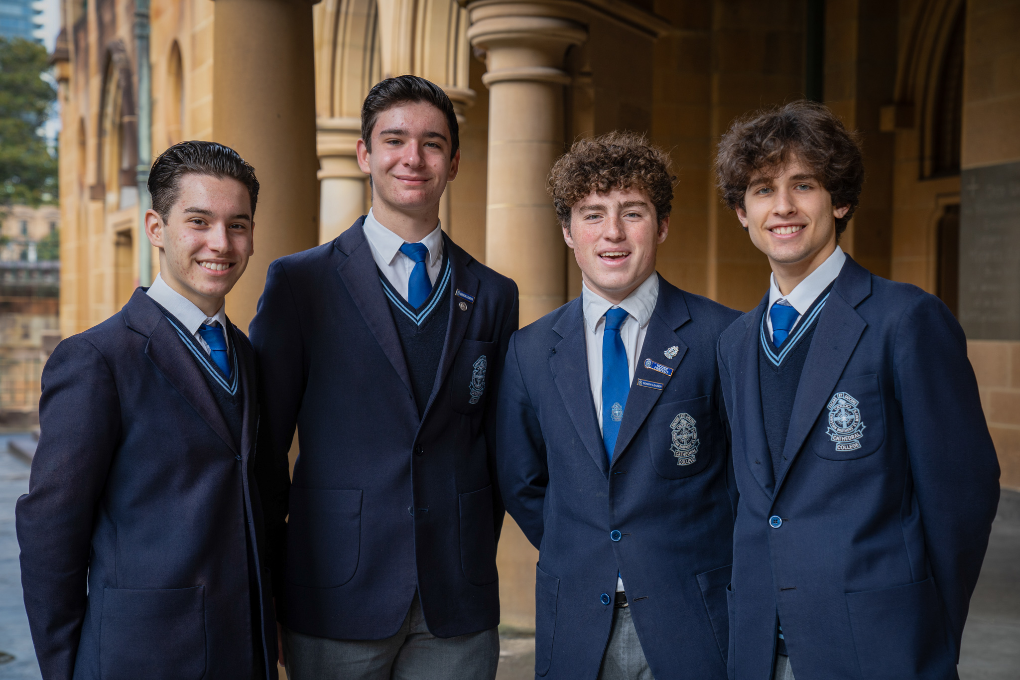 St Mary's Cathedral College year 12 students and choir scholars (from left) Marciano Flammia, Antonio Guarino, Reilly Bashall, and Dylan Ford. Photo - Kitty Beale